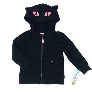NWT Cat & Jack Black Cat Ears Zip Up Hoodie Jacket